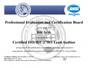 Irit arik's ISO/IEC 27001 Lead Auditor certification