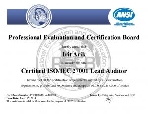 Irit arik's ISO/IEC 27001 Lead Auditor certification